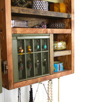 Wall mounted jewelry storage from repurposed wood..... by WoodenToWhimsy
