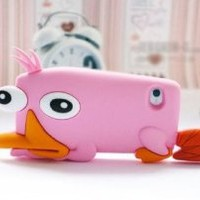 FiveBox Perry 3d Cartoon Silicone Case Platypus Silicon Cover Case for Iphone 5 5g (pink)