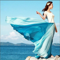 Aqua Flowing Chiffon Skirt