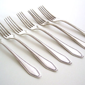 1930s silver plated Art Deco fork set - Set of six dinner forks - Silver plated flatware - Art Deco flatware - Pre-war silverware