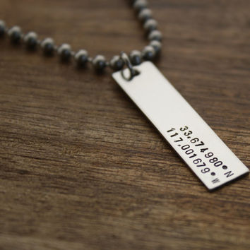 Mens Necklace, Custom Necklace, Hand Stamped Latitude Longitude Necklace, For Him, Boyfriend Gift, Personalized Necklace, Mens Jewelry