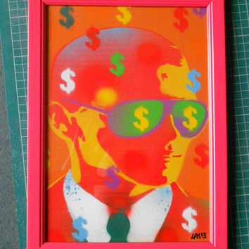 Man with Sunglasses framed painting stencil art,spray paints,card,dollar bills,fashion,pop art,urban,orange,cash,wall art,graffiti,streetart