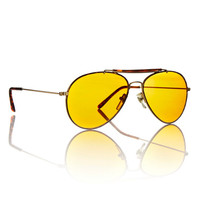 Gold Amber Vision Aviator Mens Frame Duke Sunglasses / Unisex