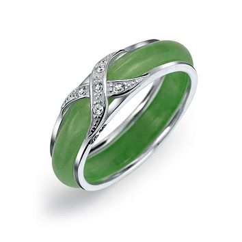 CZ Criss Cross X Kiss Dyed Green Jade Band Ring 925 Sterling Silver