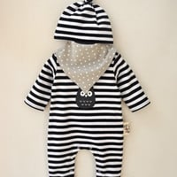 2016 Fashion Baby Boy Girl Rompers Long Sleeve O-neck Stripped Jumpsuit Newborn Baby Red Onesuit with Hat and Bib Free Shipping