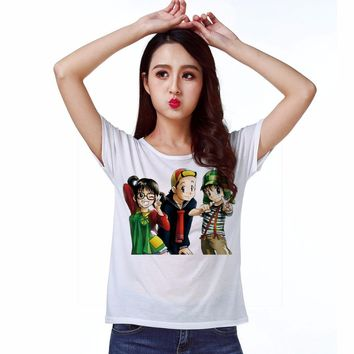 Track Ship + New Vintage Retro Rock&Roll Punk T-shirt Top Tee Dibujos Animados En Anime Three Cartoon Friends 1557