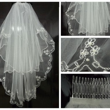 Fashion 2t Elbow Beaded Edge Embroidery Pearls  Bridal  white/Ivory Wedding Veil +Comb = 1933042948