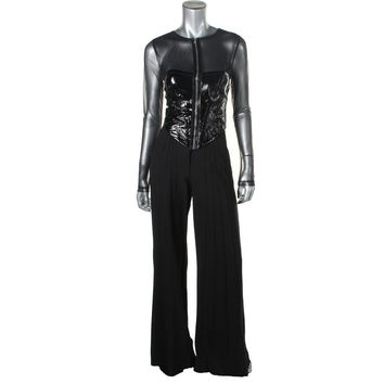 Catherine Malandrino Womens Patent Leather Pintuck Jumpsuit