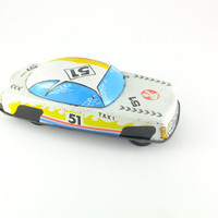 Rare Vintage Foreign Tin Taxi Car Toy Taxi Cab Made in Hungary FRICTION Tin Toy  Father's day Gift Car Vehicle