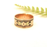 Antique Wedding Band, Charming Flower Blossom and Leaf Eternity Design in Rose and Green Gold, Wide Victorian Era Ring
