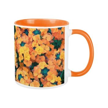 Orange Wallflowers Floral Coffee Mug