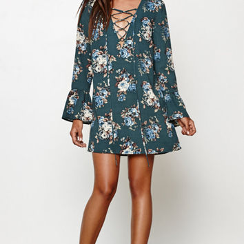 Honey Punch Floral Print Long Bell Sleeve Dress at PacSun.com