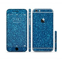 The Blue Sparkly Glitter Ultra Metallic Sectioned Skin Series for the Apple iPhone 6 Plus