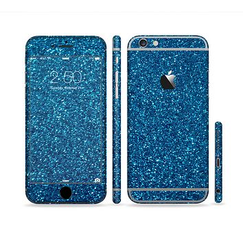 The Blue Sparkly Glitter Ultra Metallic Sectioned Skin Series for the Apple iPhone 6
