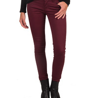 Basic 5 Pocket Skinny Jeans - Burgundy - 13
