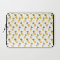 Tropical Watercolour Pineapples Laptop Sleeve by Tanyadraws