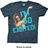 Saved By The Bell Jesse Spano I'm So Excited Heather Navy Adult T-Shirt - Saved by the Bell - Free Shipping on orders over $60   TV Store Online