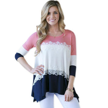 Women Casual Patchwork Lace T-shirt Summer Loose Top +Necklace