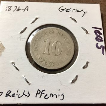 1876 German Empire 10 Pfennig Coin 1005