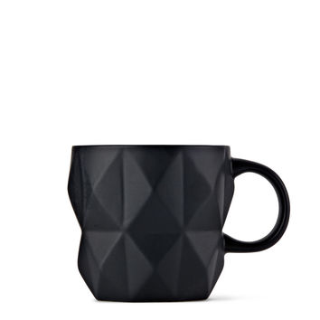 Black Faceted Mug