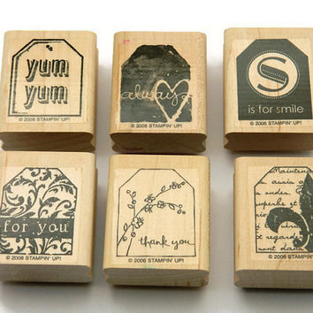 Rubber Stamps,  Stampin' Up Set, Wood Mounted Stamps, Too Terrific Tags, Tag Stamps