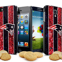New England patriots NFL logo glitter design for iPhone 4, iPhone 4s, iPhone 5,5s,5c case Samsung Galaxy S3, Samsung Galaxy S4 Case