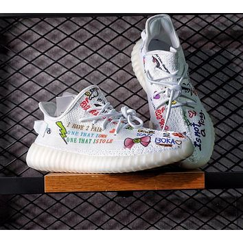 Sale Kanye West x Adidas Yeezy 350 V2 Boost Customise Graffiti Multicolor Cartoon Sport Shoes Running Shoes