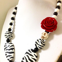 Day of the Dead Necklace Zebra Stripes Sugar Skull Jewelry Red Rose Black White