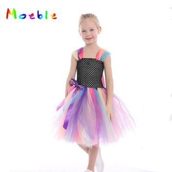 Rainbow Unicorn Princess Girl Summer Dress Tulle Tutu Dress Baby Girls Birthday Wedding Party Dresses Kids Dance Dress Ball Gown