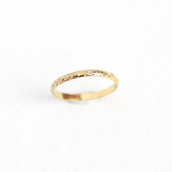 Antique 14k Yellow Gold Filled Baby Ring - Art Deco 1920s Size 1/2 Tiny Midi Eternity Flower Children's Dainty Embossed GF Jewelry