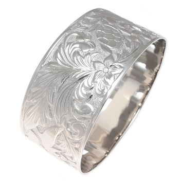 SILVER 925 HAWAIIAN BANGLE BRACELET PLUMERIA TURTLE DOLPHIN SCROLL RHODIUM 30MM