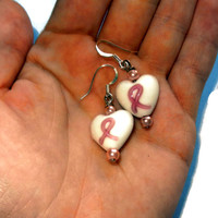 White with Pink Cancer Ribbon Glass Hearts with Pink Pearls Dangle Earrings, Sterling Silver, Handmade