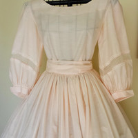 Vintage 1940s Pink Cotton Full Skirt Party Dress, New Look