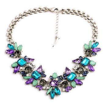 Luxury Created Crystal Flower Pendant Statement Necklace Jewelry Women Accessories