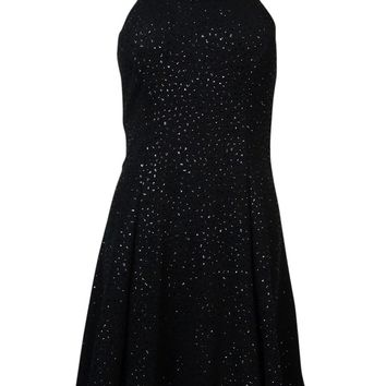 Betsy & Adam Women's Beaded Neck Sequin Mesh Dress
