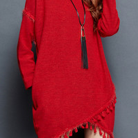 Red Tasseled Assymetric Sweater Dress