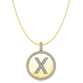 """X"" Diamond Initial 14K Yellow Gold Disk Pendant (0.56ct)"