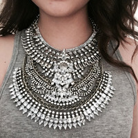 Women Metal Vintage Statement Necklaces & Pendants Are High Quality Two Big Necklaces Can Be Worn Together Or Separately NK1107