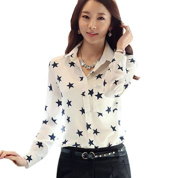 Lady Blouse Casual Shirt Star Button Down Collar Long Sleeves OL Career Work Office
