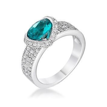 Ariel - Women's Brass Plated Silver Ring With Aqua Oval CZ