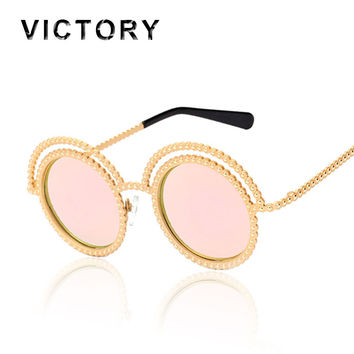 Round Retro 50S Sunglasses Medieval Luxury Concept Women Pearl Rhinestone Metal Frame UV400 Mirror Sun Glasses Beach Female