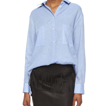 Andrea Long-Sleeve Button-Front Cotton Top, Size: