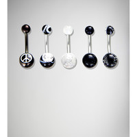 14 Gauge Black & White Peace Banana Belly Button Ring 5-Pack