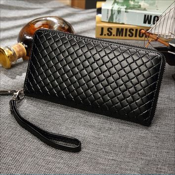 Men Wallets Business With Coin Pocket Long Zipper Coin Purse Casual Clutch Wallet Lozenge Veins Card Holder Vintage Male Wallet