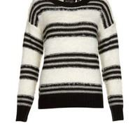 New Look Mobile | Brave Soul Cream Double Stripe Fluffy Jumper