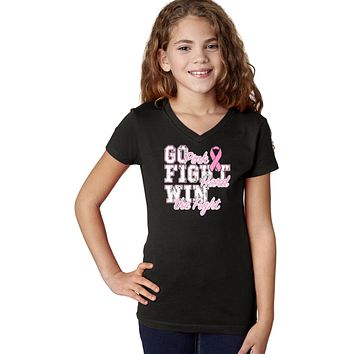 Girls Breast Cancer T-shirt Go Fight Win V-Neck