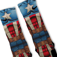 Captain America Avengers Customized Nike Elite Socks!!