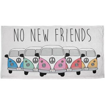 PEAPGQ9 Hippie Van No New Friends Bus Camper All Over Beach Towel