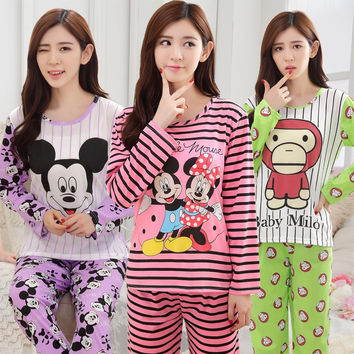 Long Sleeved Pajamas Set for women Thin Silk Pajamas