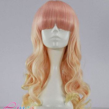 55cm Long Multi Color Beautiful Lolita Wig Anime Wig Pink And Blonde Mix Wigs Nlw187